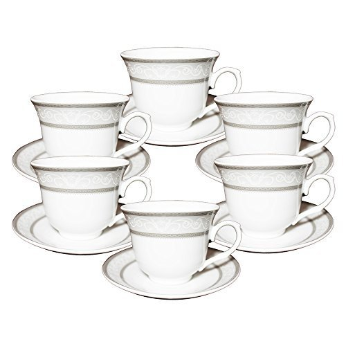 Set of 12 Silver Wreath Design Porcelain Tea Cup Saucer Set for 6 with Gift Box 1276A [A-to-Z Deals] (Teacup Wreath)