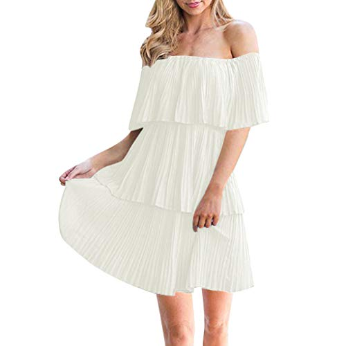 Opinionated Women's Off The Shoulder Ruffles Summer Loose Casual Chiffon Long Party Beach Maxi Dress Halter Ruffle Layered Tutu Dresses ()