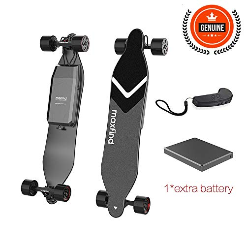 Maxfind 2019 MAX 4 Series Electric Skateboard,MAX Range Up to 40km/26miles with Extra Battery,1500W Dual Hub Motors, 38 Inches Longboard,New Upgrades (Long Range)