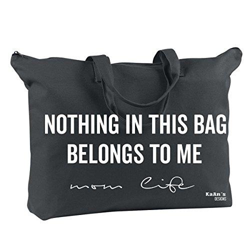 Ju Ju Ladybug (Mom Life Tote, Nothing In This Bag Belongs To Me| travel, baby, diaper bag (Black))
