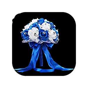meiguiyuan Bridal Bouquet for Wedding Blue and White Wedding Bouquet Handmade Artificial Flower Rose Bouquet 56