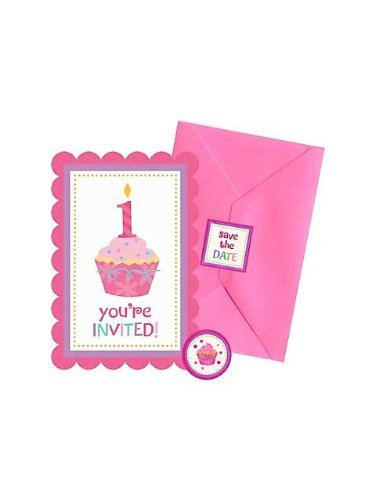 Amscan Sweet Little Cupcake - amscan Sweet Little Cupcake Girl Postcard Invitations - 20 ct