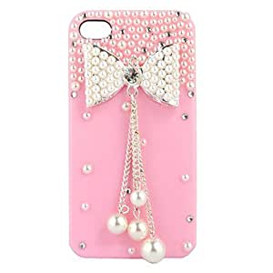 New Fashion Diamond Pearl Bowknot Hard Cover Skin Case For Iphone 4 4S 4Gs