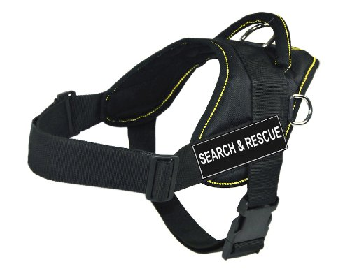 Dean & Tyler | DT Fun | Medium, fits girths: 28 inches to 34 inches, Black with Yellow Trim Nylon Harness, Pair of SEARCH & RESCUE Patches by Dean & Tyler