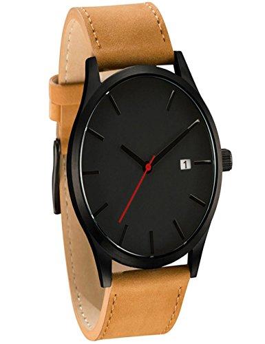 Dreaman Elegant Design Popular Low-key Minimalist Connotation Leather Mens Quartz Wristwatch (Black)