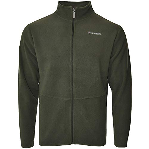 Lambretta Mens Full Zip Polar Fleece Long Sleeve Jacket - Khaki - S