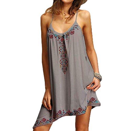 moda vestido mujeres vestidos de Gris fiesta sexy mxssi sin playa Vestido impreso de las mujer verano de mangas bodycon de flojo 7wHn6p8q