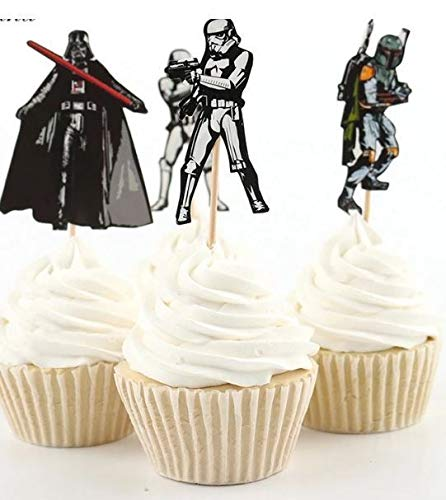 24x Cupcake Topper Picks - STAR WARS themed Cupcake Topper Picks (Star Wars 24 Toppers Cupcake)