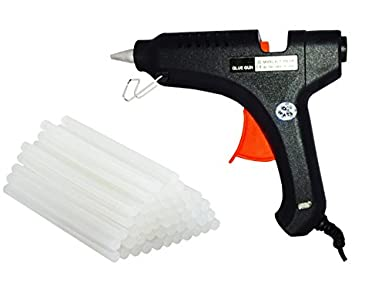 billionBAG Hot Melt Glue Gun kit 80 Watt, High-Tech Electronic PTC heating technology For Bonding Artificial Flowers, Decorations & Furniture Quick Repairs,Black (20 hot glue gun sticks INCLUDED, Professional Use)