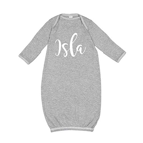 Mashed Clothing Isla - Personalized Name Baby Cotton Sleeper Gown (Heather Newborn)