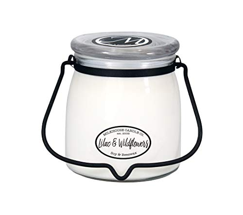 Milkhouse Candle Creamery Butter Jar Candle, Lilac and Wildflowers, 16-Ounce