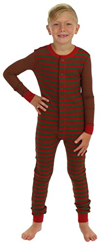 Sleepyheads Boys and Girls Thermal Union Suit without Feet Red & Green (SH3014-K-4051-3T)