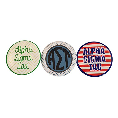 Alpha Sigma Tau Sorority Variety of 2 Inch Round Pinback Buttons (3 Different Buttons) (Calvin Klein Variety Sets)