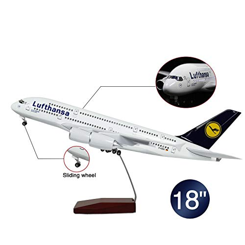Lose Fun Park 18 Inch(46cm) LED Light 1:130 Model Airplane German Lufthansa Airbus 380 with Landing Gear Aircraft for…