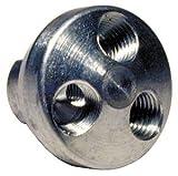 1/4''NPTF x 1/4''NPTF,Aluminum 3-Outlet,Three-Way Manifold