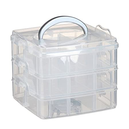 3 TIER PLASTIC STORAGE BOX CRAFT BEADS JEWELLERY HANDLE ORGANISER COMPARTMENT  sc 1 st  Amazon UK & 3 TIER PLASTIC STORAGE BOX CRAFT BEADS JEWELLERY HANDLE ORGANISER ...