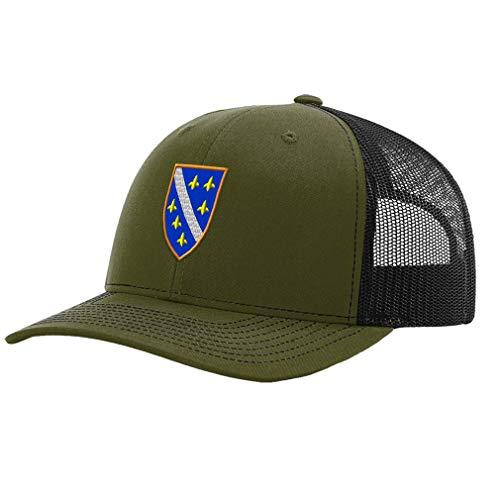 Richardson Trucker Hat Bosnia War Flag Embroidery City Name Polyester Baseball Mesh Cap Snaps - Loden/Black, Design Only ()