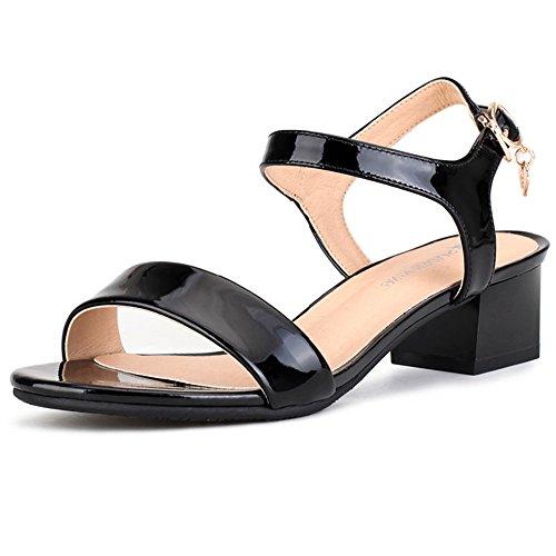 XIAOLIN 女性の靴サンダル女性の夏の粗いヒールレザーファッションワイルドミドルヒールレディースシューズ(オプションのサイズ) (色 : 02, サイズ さいず : EU36/UK4/CN36)