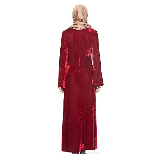 Xinvision Velours Manches Trompette Islamic Brodée Musulmane Robe Lâche De Prière De L'église Dubai Robe Caftan Malaisie Pleine Longueur Vêtements Ethniques Cocktail Abaya Pour Les Femmes Vin Rouge