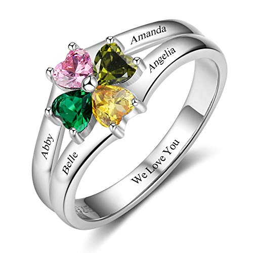 OPALSTOCK Personalized Mothers Rings for Women Simulated Birthstones with 4 Name Rings Family Rings for Mommy Gifts (8)