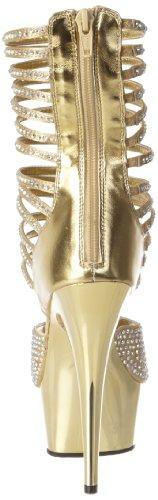 Pleaser - Sandalias mujer, color dorado, talla 40