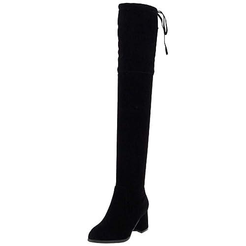 RAZAMAZA Mujer Botas sobre la Rodilla sin Cordones  Amazon.es  Zapatos y  complementos e9ab3a9f31542