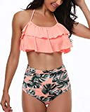 Coskaka Women's High Neck Two Piece Bathing Suits Top Ruffled High Waist Swimsuit Tankini Bikini Sets Pink-Leaves XXL