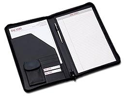 Dacasso Deluxe Zip-Around Portfolio - Legal Size, Black (E1003)