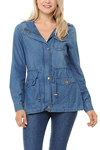 Auliné Collection Womens Chambray Denim Military Lightweight Anorak Shirt Jacket - Light Blue Small