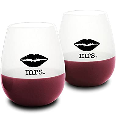 DuVino SIP IT! Mrs. and Mrs. Silicone Wine Glasses - Unbreakable, Reusable, Flexible, Food-Grade - Set of 2 - Great Gay Wedding Gift - Fun, Shatterproof Cup - Gifts for Lesbian Couples!