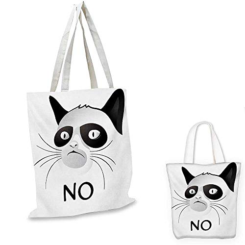 Animal canvas shoulder bag Cat Face Portrait Says No Grumpy Social Character Kitty Domestic Artful Image canvas lunch bag Black and White. 15