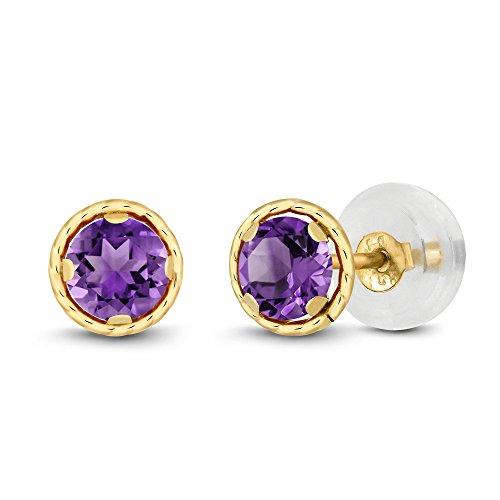 Gem Stone King 0.50 Ct Round 4mm Purple Amethyst 14K Yellow Gold Stud Earrings
