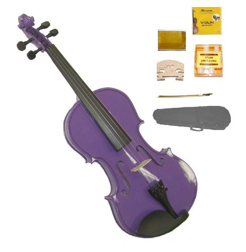 GRACE 1/16 Size Purple Acoustic Violin with Case and Bow+Rosin+2 Sets Strings+2 Bridges+Tuner