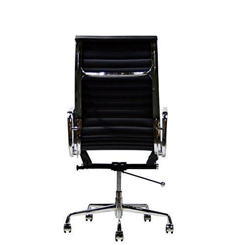 Eames Style Aluminum Group Executive Office Chair Reproduction Leather Black