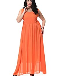 Greenis Women Summer Dress Chiffon Dress Long Sleeveless Plus Size