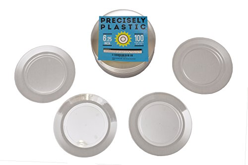 Clear Hard Plastic Plates Premium 6.25-Inch Disposable 100 ct VALUE PACK, Sturdy Bulk Plates Perfect for Appetizers, Salads, Desserts, Party Foods, Small Dishes (Pie Plates Bulk compare prices)