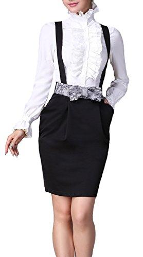 : DEARCASE Women Stand-Up Collar Lotus Ruffle Shirts Blouse