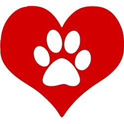 Heart Decal - Heart Pet Paw Vinyl Sticker - Shelter Pet Bumper Sticker - Pet Decal - Perfect Pet Owner Gift - Made in the USA