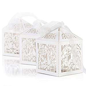 Naler 50pcs Wedding Gift Box, Candy Gift Box Paper Box for Wedding Favor Party Wrapper with Ribbon, White