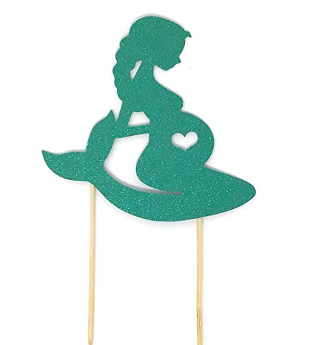 Pregnant Mermaid Baby Shower Cake Topper Cake Toppers for Mermaid Themed Baby Shower Party Double Sided Glitter (Teal Green)