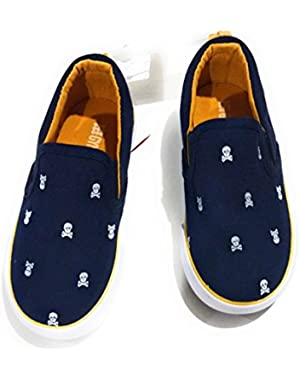 Boys' Navy/ Yellow with Skull Slip On Sneaker, 9 Toddler