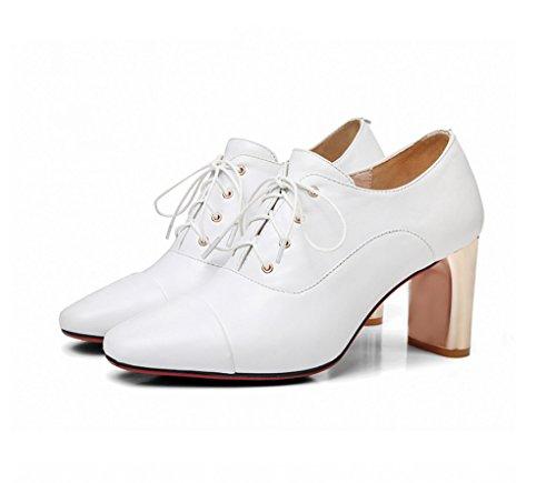 Simples Talons Confortable Lace Fashion Couleur Chaussures Amérique Blanc Hauts Taille et Blanc à Femmes Chaussures LGLFRXZ Printemps Europe HJHY 37 zZ766wqt