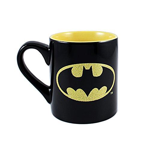 DC Comics BN0332G Batman Logo Glitter Ceramic Mug, 14-Ounces, Black and Yellow ()