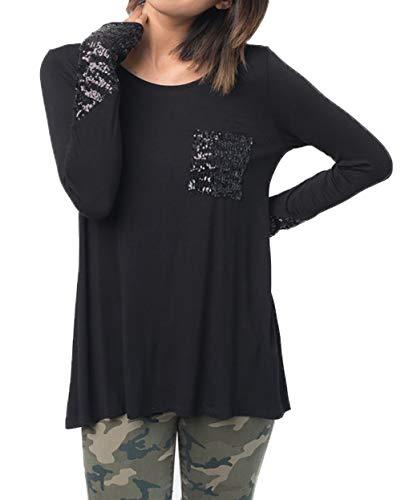 Automne Manches Femmes Paillettes Blouse T Tops Rond Chic Hauts Col Jumpers Printemps Tee pissure et Shirt Mode Casual Noir Longues 85gqnA1x