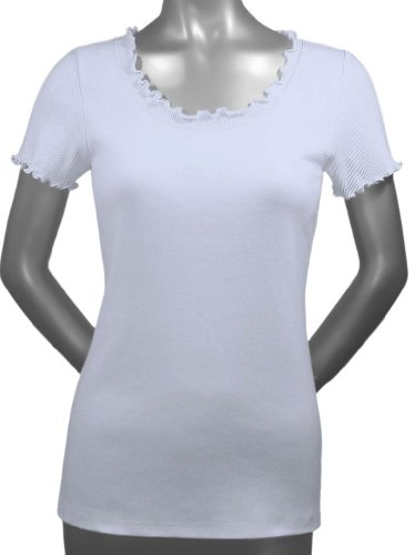 Kavio! Women Lettuce Edge Scoop Neck Short Sleeve Top White S ()