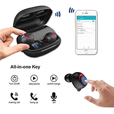 TeckEpic Bluetooth Wireless Earbuds Headphones - Sports IPX5 Waterproof Stereo in-Ear Earphones w Charging Case Compatible with iPhone Samsung iPad and Most Android Phones