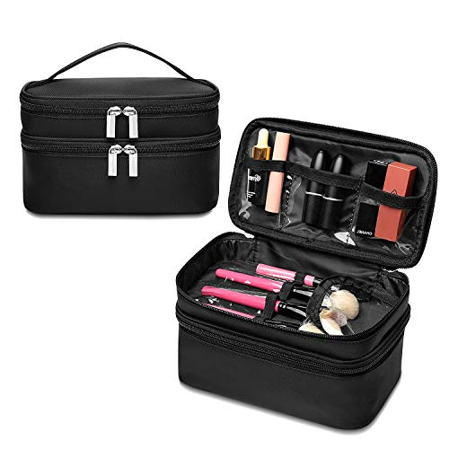 Makeup Bags Travel Cosmetic Pouch 2 Layer with Brushes Lipsticks Dividers Travel Packing Organizers Portable Cosmetic Storage Double Zipper Toiletry Bag for Girls Black by Qookiee