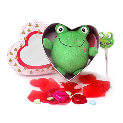 'I'm TOAD-ally Yours!' Valentine Gift Basket with Frog Plush Chocolate Lips Candy
