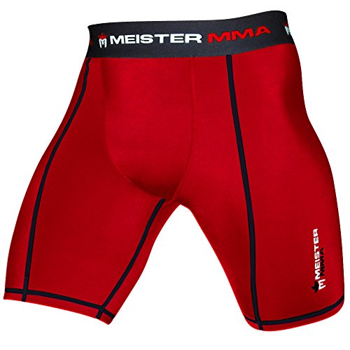 Red Mma Fight Shorts (Meister MMA Compression Rush Fight Shorts w/ Cup Pocket - Red - Large (34-35))