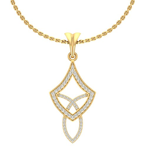 14 K Or jaune 0.23 CT TW Round-cut-diamond (IJ | SI) diamant Pendentif